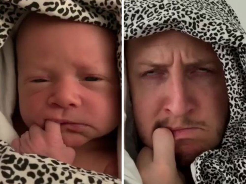 Dad recreates faces his baby daughter makes
